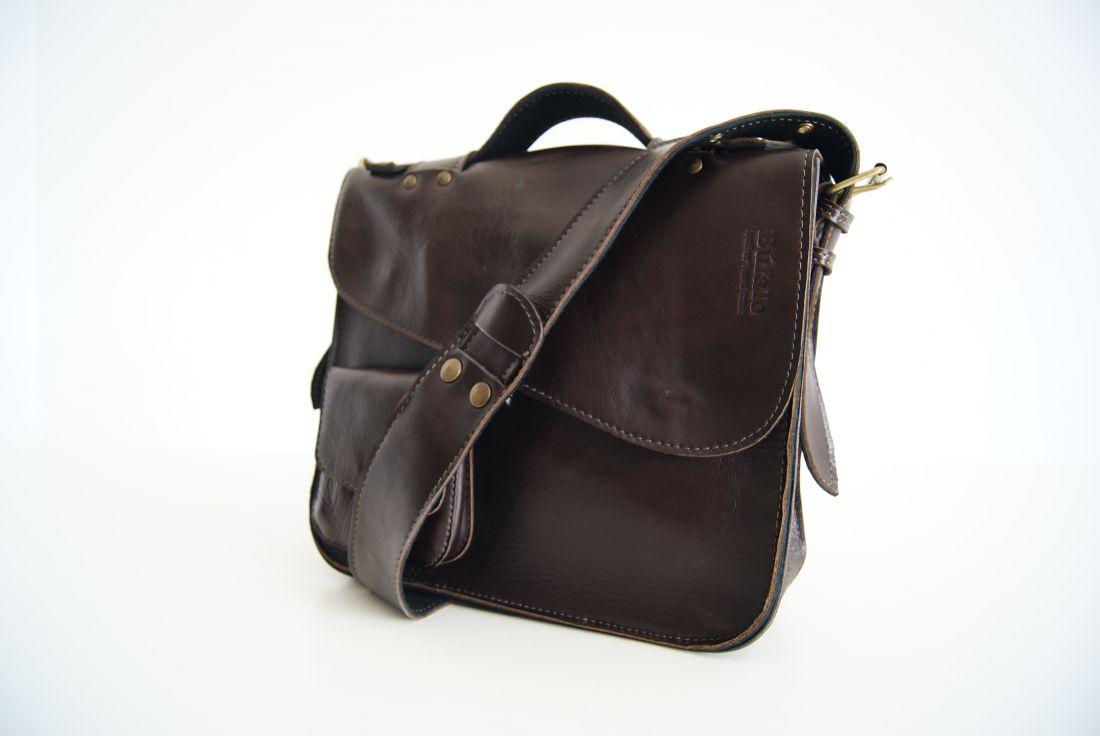 BUFALO LB04 BROWN коричневый кожаный портфель