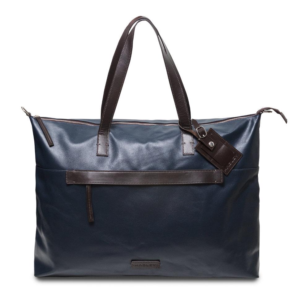 HADLEY LARTON NAVY дорожная деловая кожаная сумка